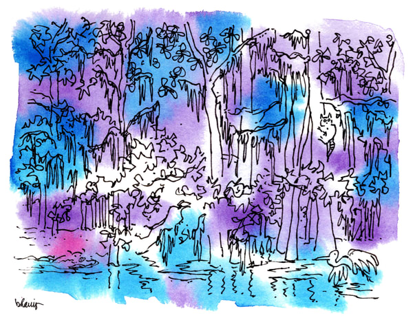 """honey island swamp (critters), south louisiana (""""after dark"""" collection):  fine art prints in atmospheric watercolor available for purchase online"""
