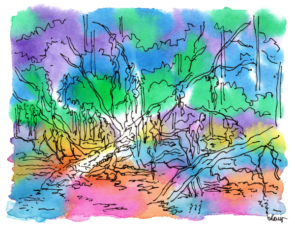 honey island swamp (gators on logs, south louisiana:  purchase online fine art prints in cheerful watercolor