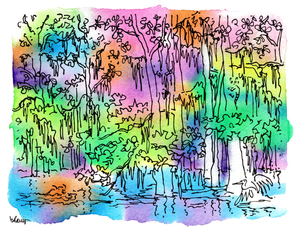 honey island swamp (critters), south louisiana:  fine art prints in cheerful watercolor available for purchase online