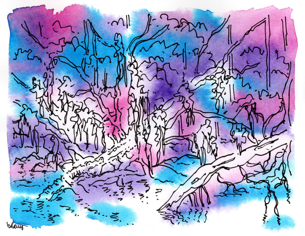 """honey island swamp (gators on logs), south louisiana (""""after dark"""" collection):  purchase online fine art prints in atmospheric watercolor"""