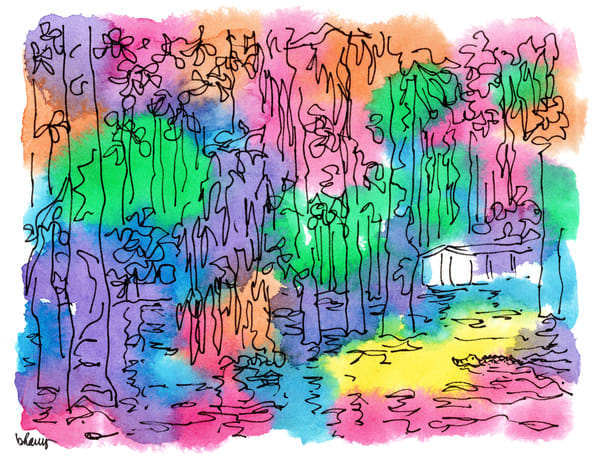 honey island swamp (camp with gator), south louisiana:  fine art prints in cheerful watercolor for sale online