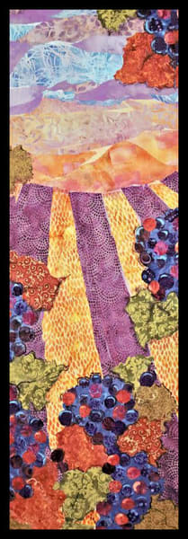 Red Grapes textile mosaic by Sharon Tesser