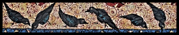 Crows, fabric mosaic, textile collage, Tesser
