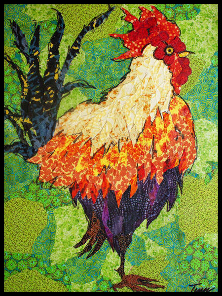 Rooster, Big Red, , textile mosaic, Sharon Tesser, Tesser Designs