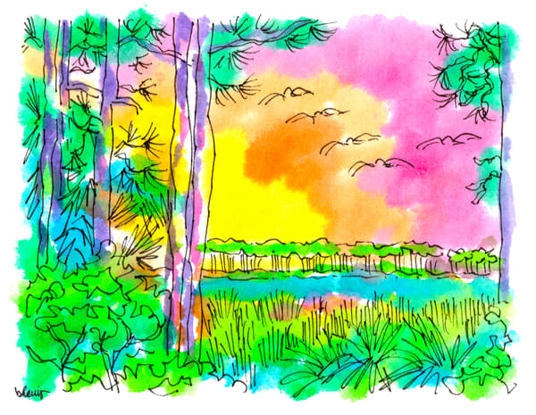 western lake pines, grayton beach (30a), florida:  fine art prints in cheerful watercolor available for purchase online