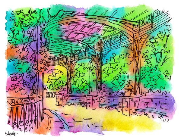 conservatory garden, new york city:  fine art prints in cheerful watercolor available for purchase online