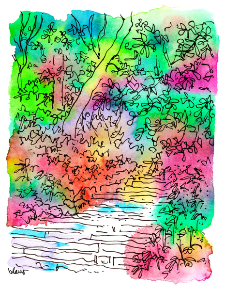 central park (stairs amidst greenery), new york city:  fine art prints in cheerful watercolor for sale online