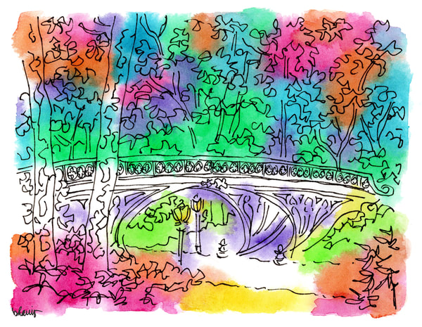 central park (gothic bridge), new york city:  fine art prints in cheerful watercolor available for purchase online