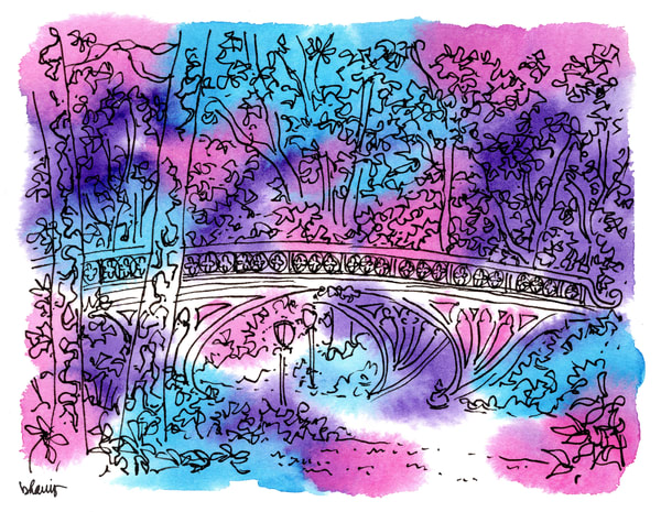 """central park (gothic bridge), new york city (""""after dark"""" collection):  fine art prints in atmospheric watercolor available for purchase online"""