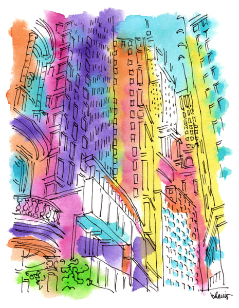 financial district (rotunda), new york city:  fine art prints in cheerful watercolor available for purchase online