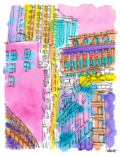 financial district (portico), new york city:  fine art prints in cheerful watercolor available for purchase online