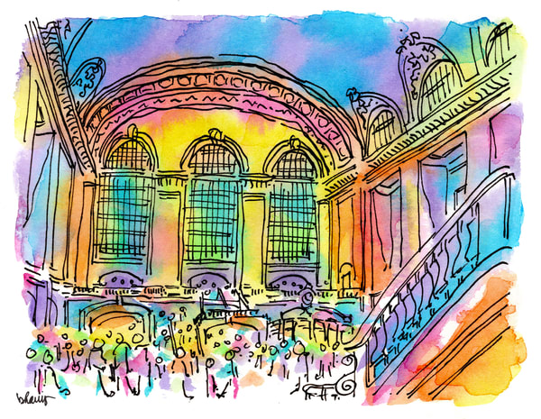 grand central station, new york city:  fine art prints in cheerful watercolor available for purchase online