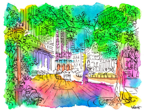 federal courthouse, new york city:  fine art prints in cheerful watercolor for sale online