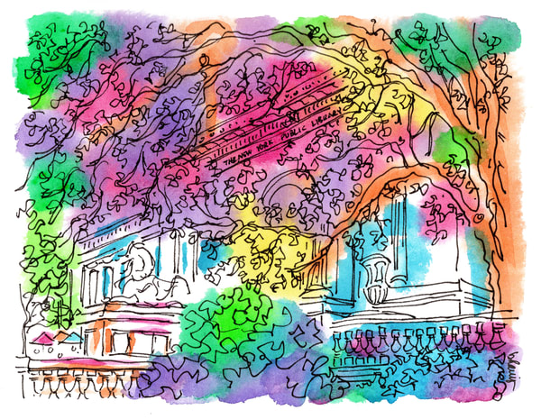 public library, new york city:  fine art prints in cheerful watercolor available for purchase online
