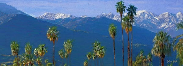 Southern California Mountains & Palm Trees Art | Sharon Beth