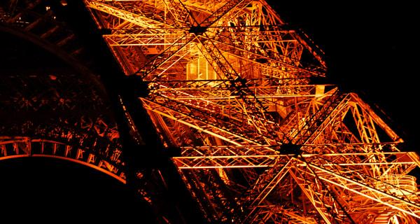 Eiffel Tower Detail at Night
