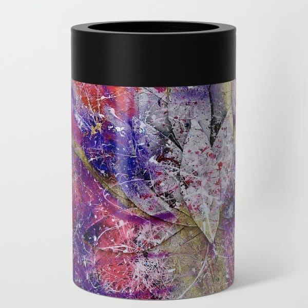 rock lotus abstract art can cooler