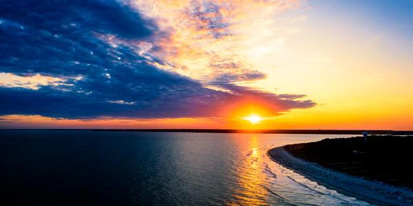 Aerial Photo of Sunset Over Hilton Head Beach