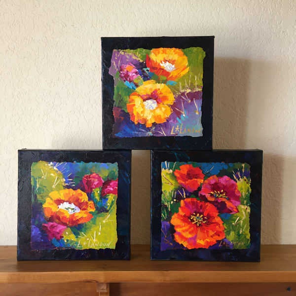 Cactus Blossom Trio Art | Linda Star Landon Fine Art