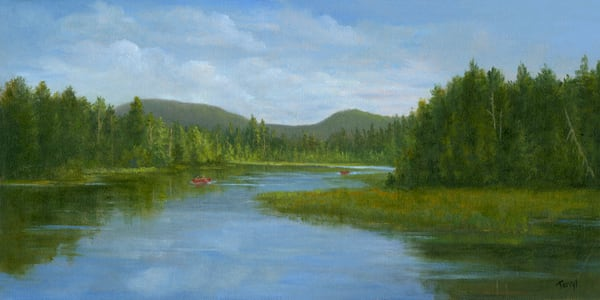*Mini Meatchum Pond With Red Canoes* Art | Tarryl Fine Art