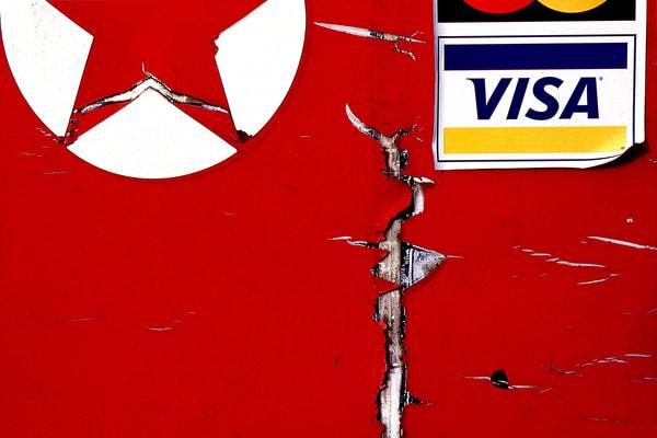 Abstract Red Visa Texaco Gas Pump Print - Sherry Mills