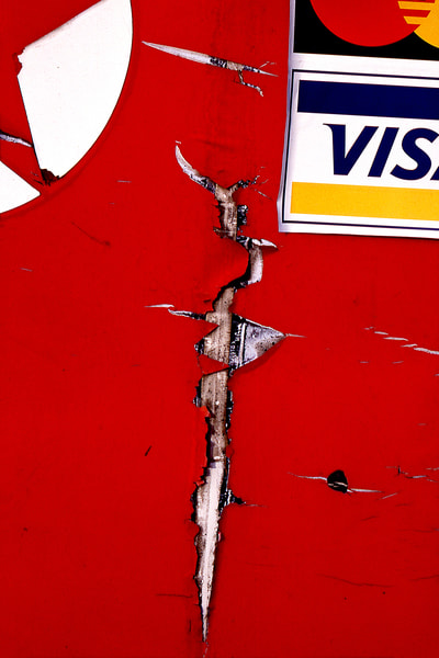 Abstract Red Cracked Gas Pump Photography - Sherry Mills