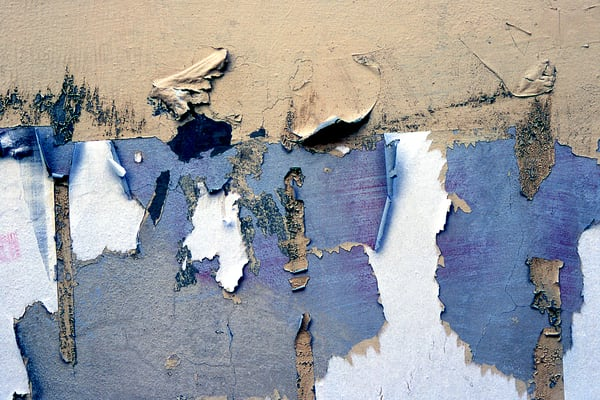 Peeling Blue Wall Abstract Florence Print - Sherry Mills