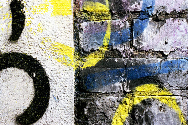 Abstract Manhattan Brick Wall Graffiti Print - Sherry Mills