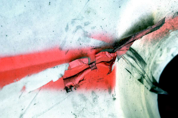Dramatic Abstract Red NYC Barricade Print – Sherry Mills