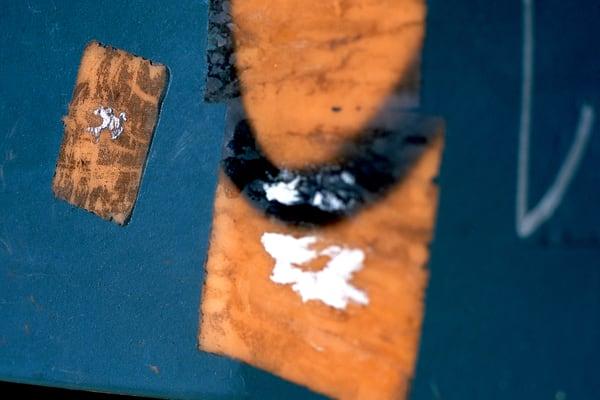 Blue Orange Abstract SoHo Detail Photography – Sherry Mills
