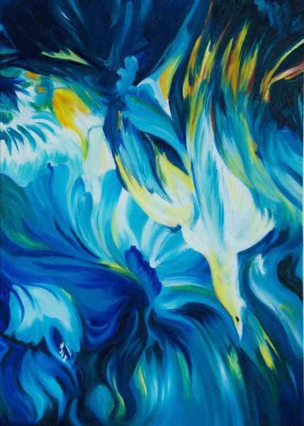 Armoni En Azul,2008,28x20in Oil On Canvas   artecolombianobyberenice