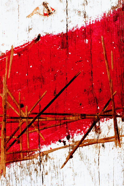 Red Dramatic Abstract Cuts On Wood NYC Print – Sherry Mills