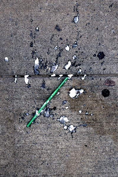 Green Straw Abstract NYC Sidewalk Art Print – Sherry Mills