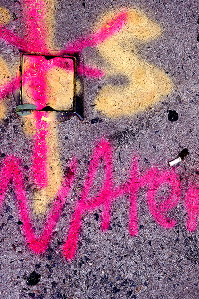 Pink Water Abstract NYC Sidewalk Print – Sherry Mills