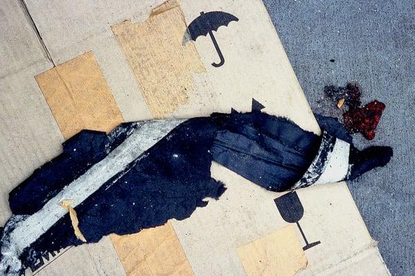 Umbrella Abstract NYC Cardboard Sidewalk Art – Sherry Mills
