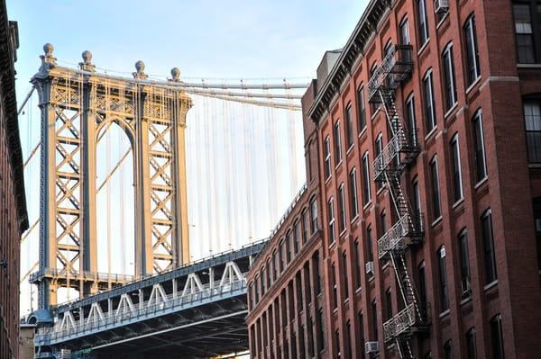Brooklyn Bridge Between Buildings Photography Art | Cardinal ArtWorks LLC