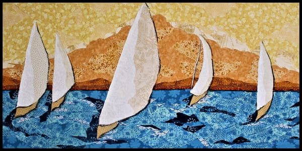 Embracing the wind, a textile mosaic by Sharon Tesser