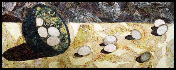 Eggs on a Roll, a fabric mosaic by Sharon Tesser
