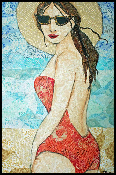 Deja Vu is a fabric art textile mosaic by sharon Tesser