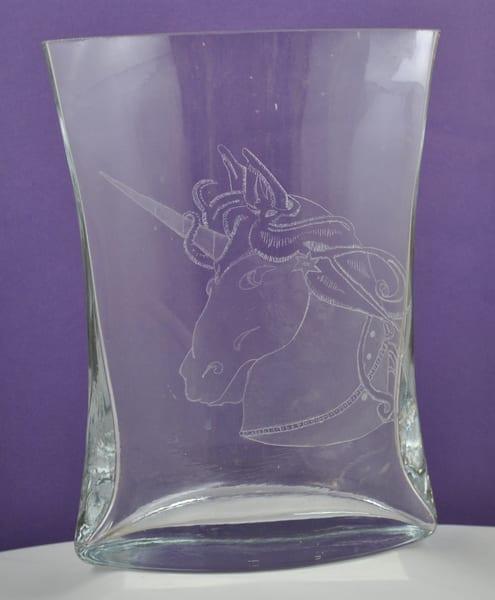 Diana Rossell - original artwork - glass - glass engraving - carousel - Unicorn Vase