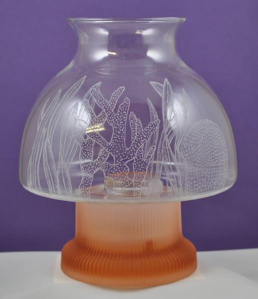 Diana Rossell - original artwork - glass - glass engraving - lamp - nature - coral - ocean - Coral Sea