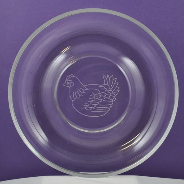 Diana Rossell - original artwork - glass - glass engraving - nature - chicken - Chicken Dish