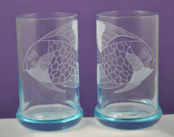 Diana Rossell - original artwork - glass - glass engraving - nature - fish - Angel Kisses
