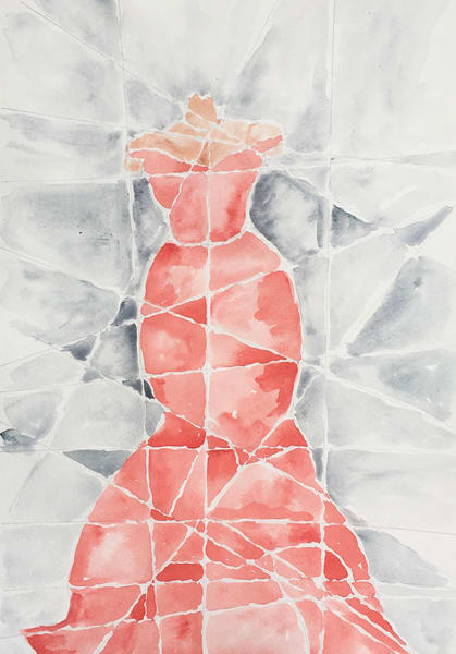 Lady In Red  Watercolor  Art   Anonymous Art Studios