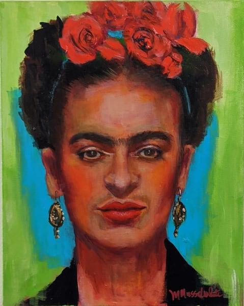 Michelle Musselwhite - original artwork - portrait - celebrity - Frida Kahlo - Unfinished