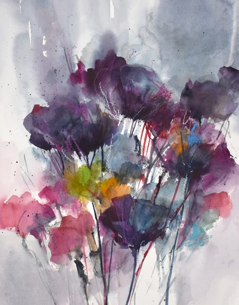 Abstract wildflower watercolor painting