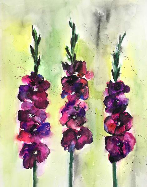 Gladiolus violet watercolor flower painting
