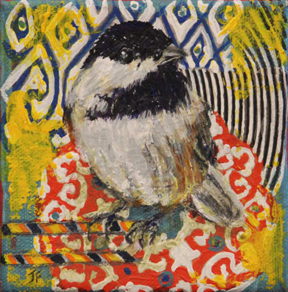 Colorful print of chickadee by Jennifer Ferris