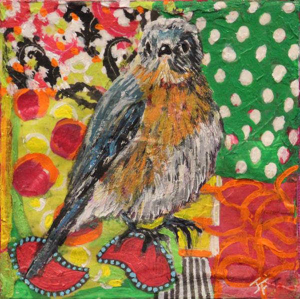 colorful Bluebird print by Jennifer Ferris