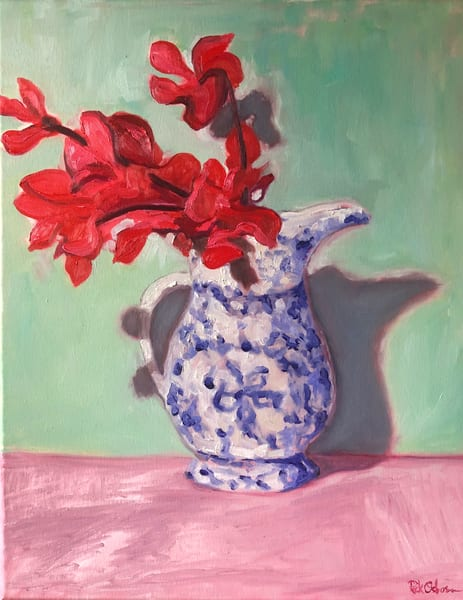 Red Sweet Peas in a Blue White Vase Painting | Fine Art Original Painting by Rick Osborn